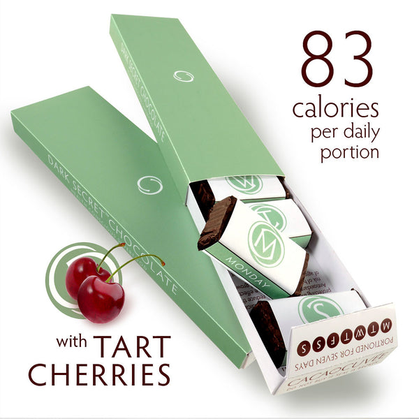 DARK SECRET chocolate with Tart Cherries - Two 7 day boxes open