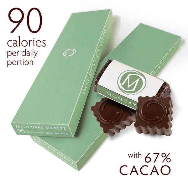 DARK SECRET chocolate with 67% Cacao - Two 7 day boxes