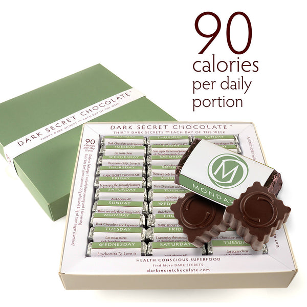 DARK SECRET chocolate with 67% Cacao - 30 day box - Artisan chocolate daily nibble