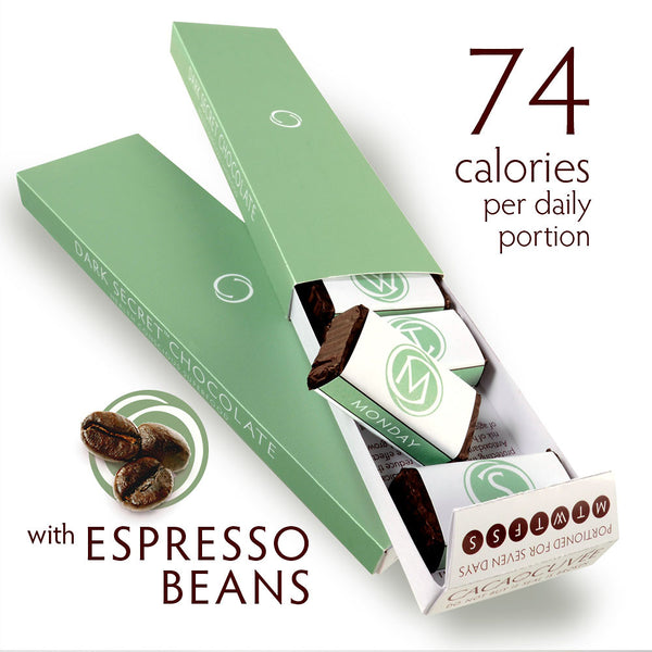 DARK SECRET chocolate with Espresso Beans - Two 7 day boxes open