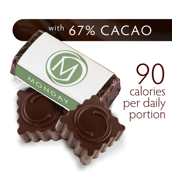 DARK SECRET chocolate with 67% Cacao - 30 day box product detail - Artisan chocolate daily nibble