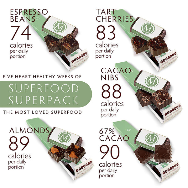SUPERFOOD SUPERPACK - Five 7 Day Box assortment of DARK SECRET chocolate varieties