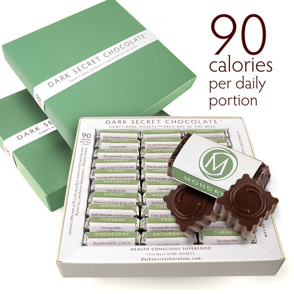DARK SECRET chocolate with 67% Cacao - 3 / 30 day boxes - Artisan chocolate daily nibble