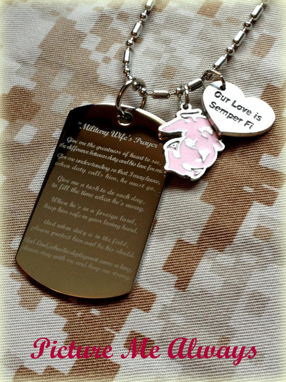 Engraved Military Wife's Prayer Dog Tag