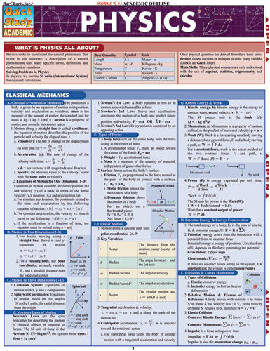 Physics Laminated Reference Guide