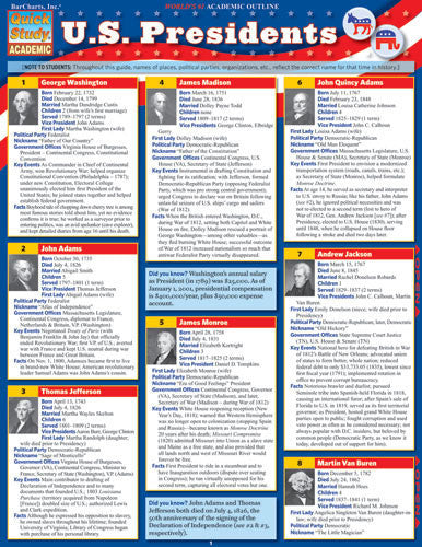 U.S. Presidents Laminated Reference Guide