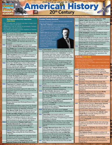American History 20th Century Laminated Reference Guide