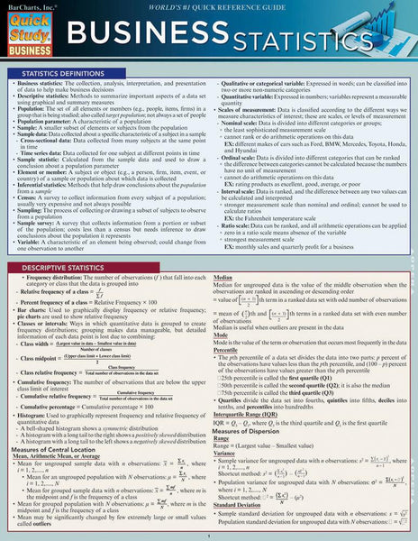Business Statistics Laminated Reference Guide