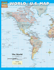 World & US Map Laminated Reference Guide