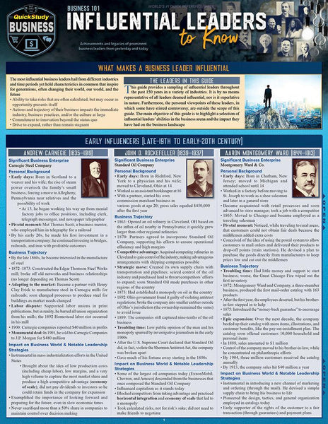 Business 101 – Influential Leaders to Know Laminated Reference Guide