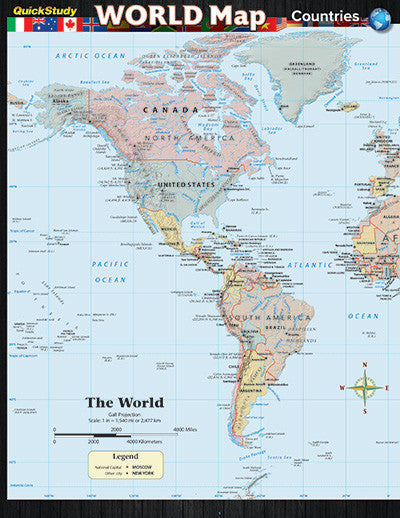 World Map: Countries Guide Laminated Reference Guide
