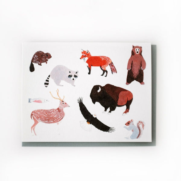 'Animals' Greetings Card