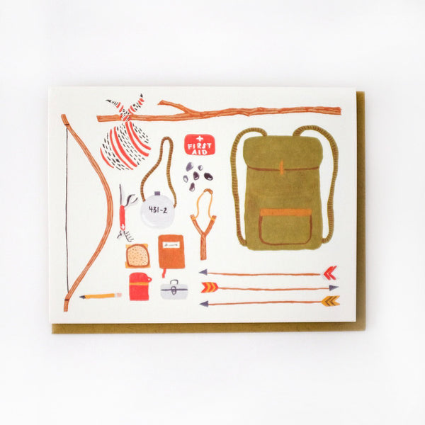 'Backpack' Greetings Card