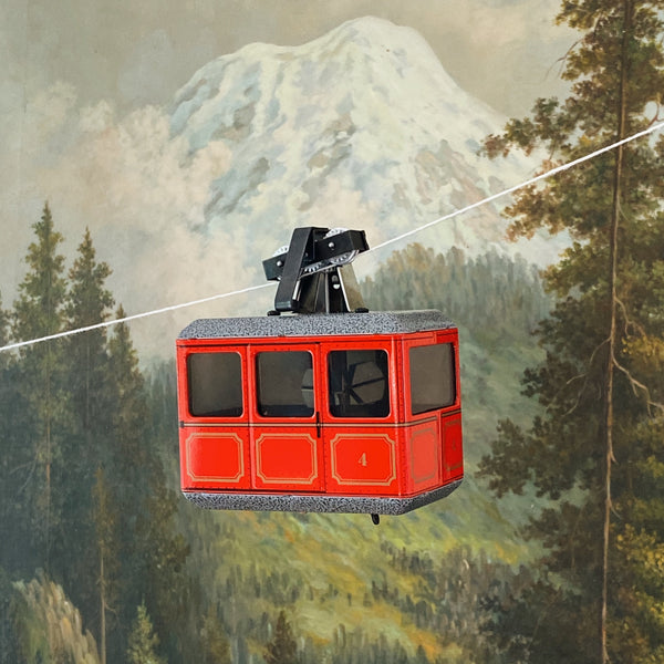 Red Tin Wind Up Cable Car