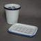 White Enamel Toothbrush Holder