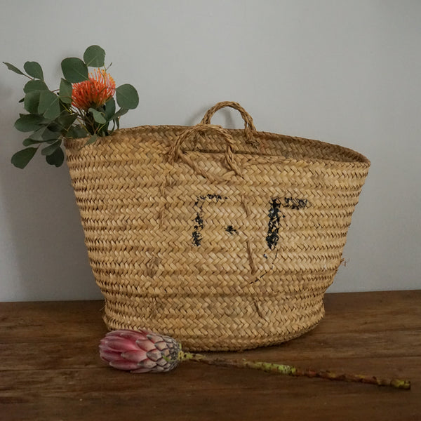 Vintage Palm Leaf Basket