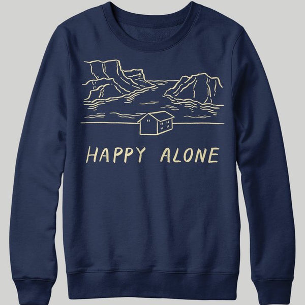 Stay Home Club 'Happy Alone' Navy Sweatshirt.