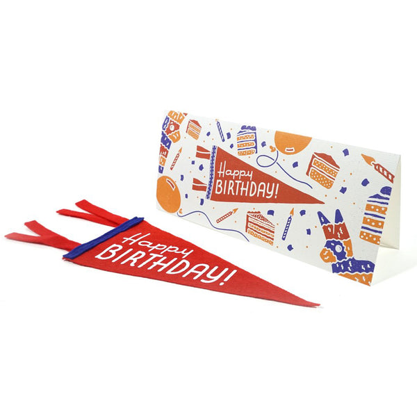 'Happy Birthday' Greeting Card & Mini Pennant