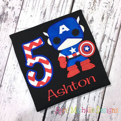 Captain American Boys Birthday Shirt