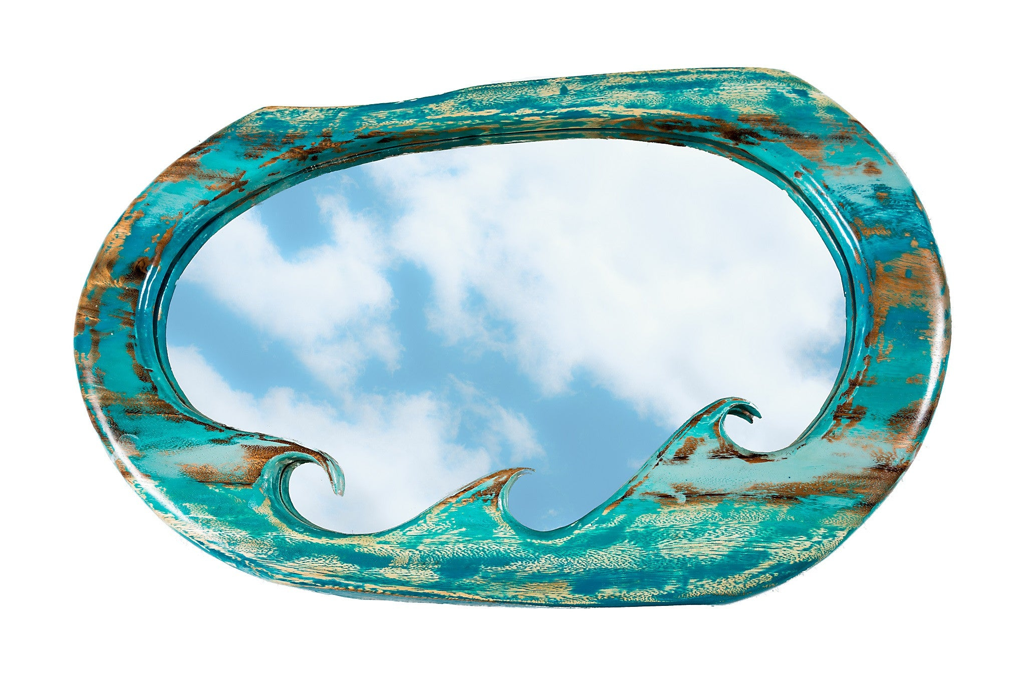 TURQUOISE OMBRE WAVE MIRROR