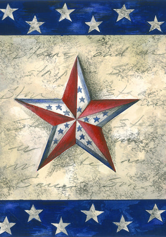 Patriotic Star on Star Garden Flag