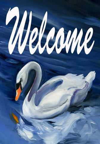 Garden Flag-Swan Welcome