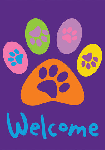 Garden Flag-Welcome with Paw