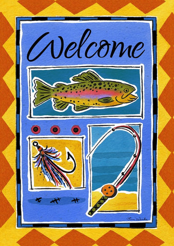 Garden Flag-Fishing-Welcome