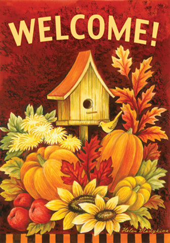 Fall Birdhouse Garden Flag