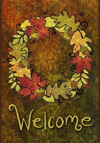 Leaf Wreath Garden Flag