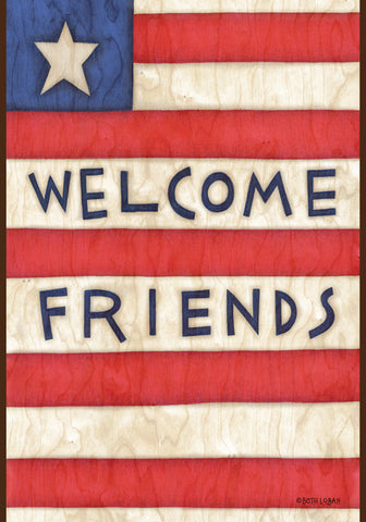 Welcome Friends Patriotic Garden Flag