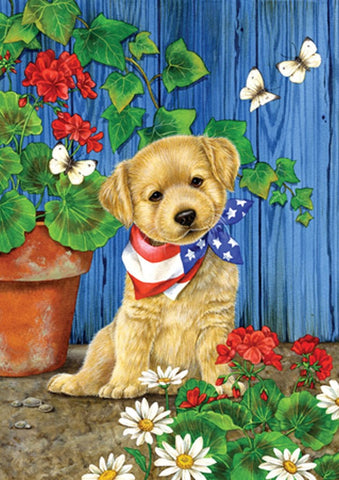 Garden Flag-Patriotic Puppy Dog Flag