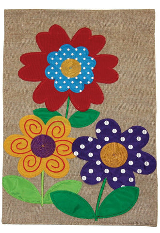 Burlap Garden Flag-Polka Dot Flowers, 2 Sided. Sewn and embroidered.