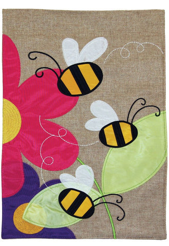 Burlap Garden Flag-Bees, 2 Sided. Sewn and embroidered.