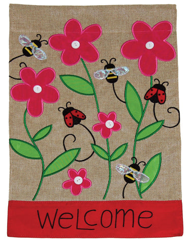 Burlap Garden Flag-Ladybugs, Welcome, 2 Sided. Sewn and embroidered.