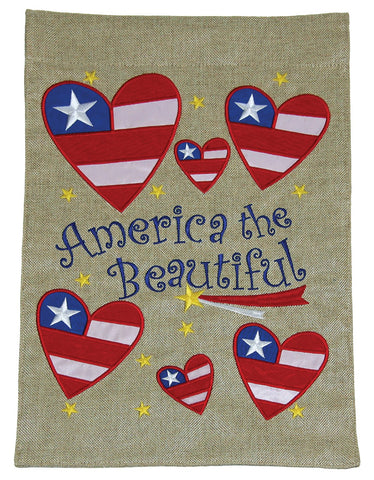 Burlap Garden Flag-America, Hearts, 2 Sided. Sewn and embroidered.