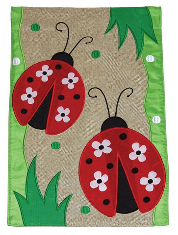 Burlap Garden Flag-Ladybugs, 2 Sided. Sewn and embroidered.