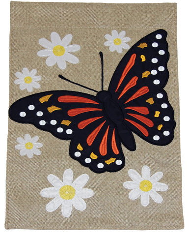 Burlap Garden Flag-Butterfly, 2 Sided. Sewn and embroidered.