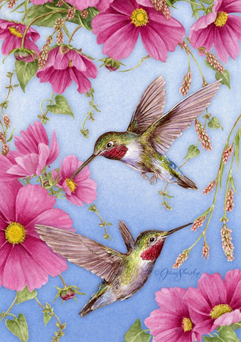 Garden Flag-Hummingbirds with Pink Flowers Flag