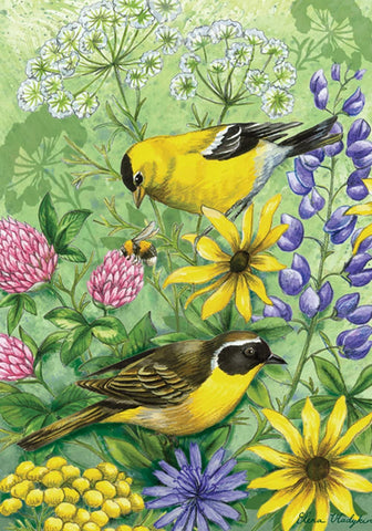 Garden Flag-Yellow Finch with Flowers Flag