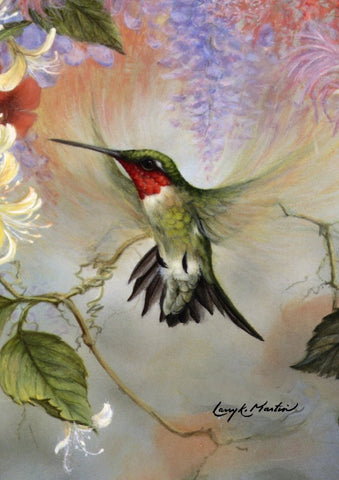 Garden Flag-Ruby Throated Hummingbird Flag