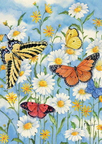 Garden Flag-Butterflies and Daisies