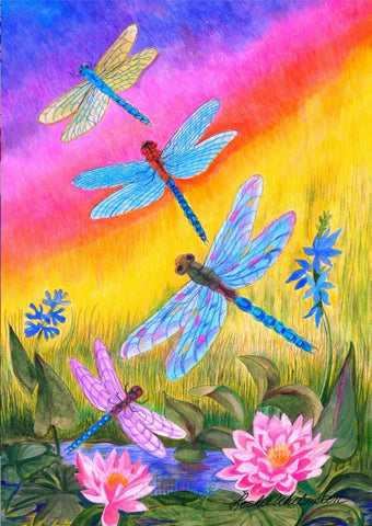 Garden Flag-Dragonflies at Dusk
