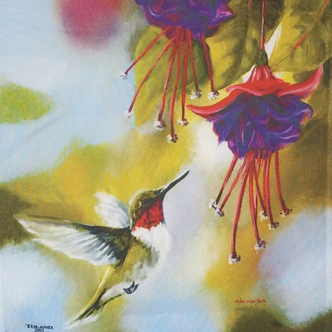Garden Flag-Hummingbird and Fuchsias Flag