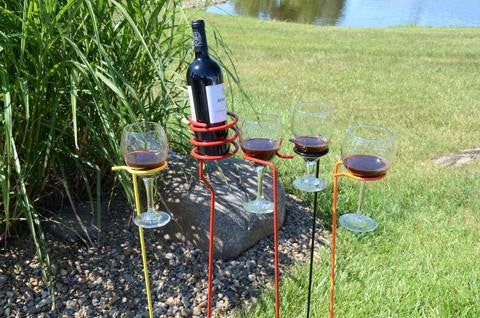 4-Pack Wine Glass Holders with Yellow & Orange Bottle Holders
