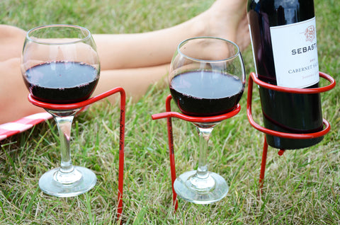 Red wine glass holders for a picnic from Ohio Outdoor Creations