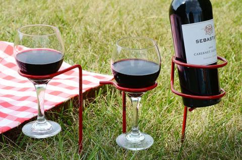 wine glass and bottle holders with wine glasses and bottle. From Ohio Outdoor Creation