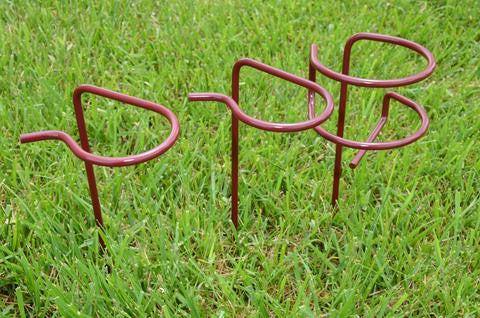 Burgundy Wine glass and bottle holders for a picnic from Ohio Outdoor Creations