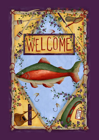 Garden Flag-Gone Fishing-Welcome