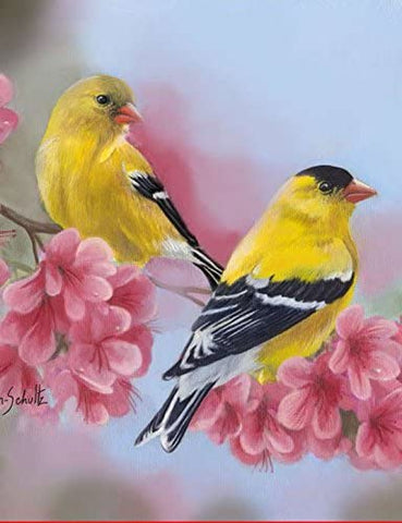Garden Flag-Goldfinch Blossoms Flag